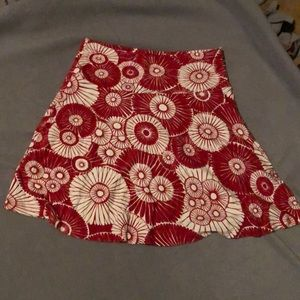 Red and white floral skirt